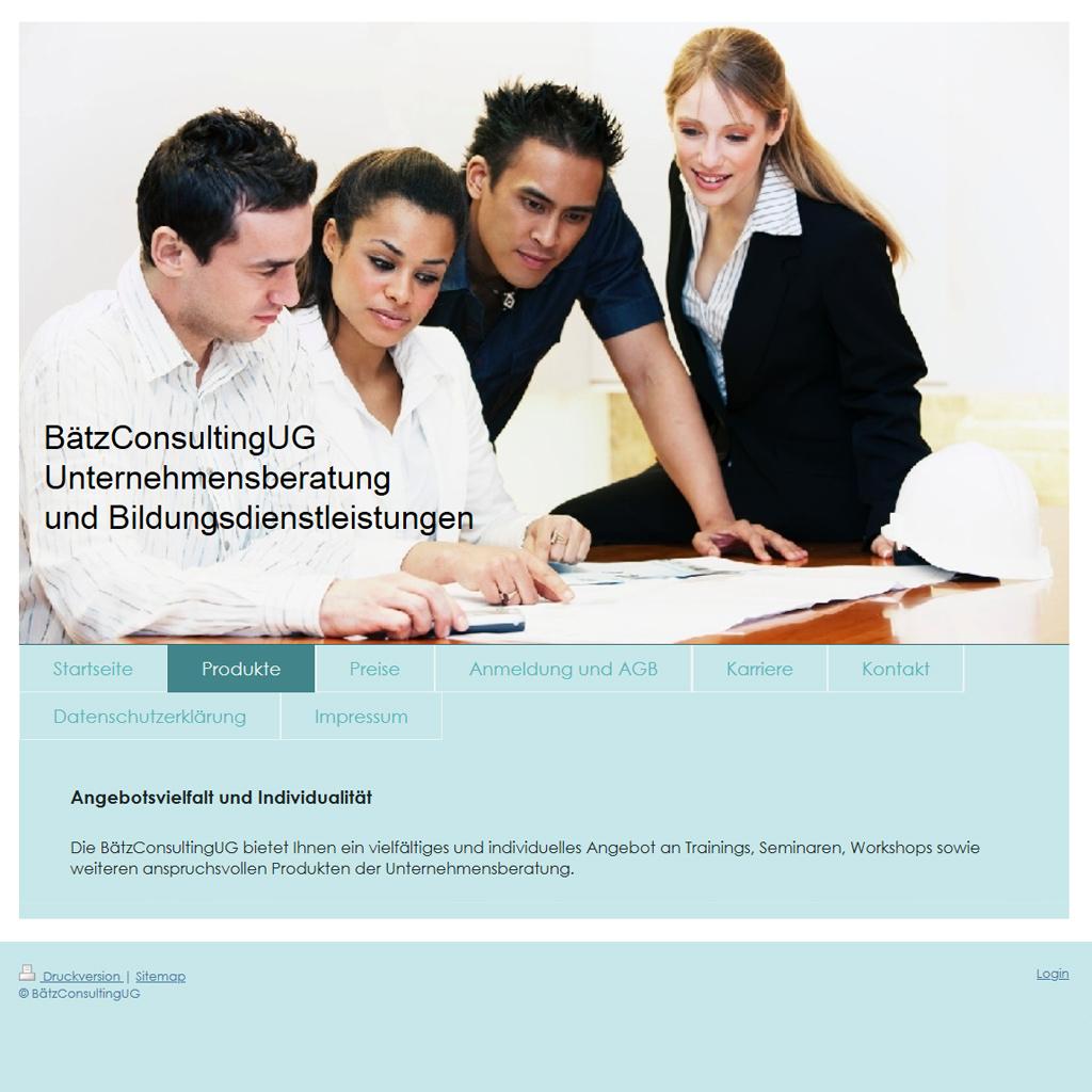 Bildschirmfoto der Website Bätz Consulting UG