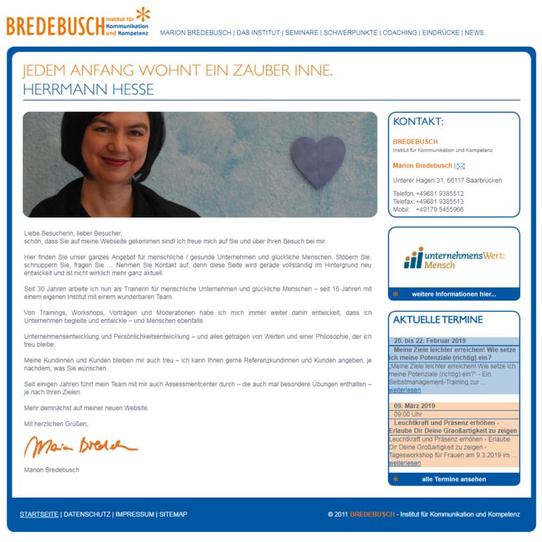 Bildschirmfoto der Website Bredebusch