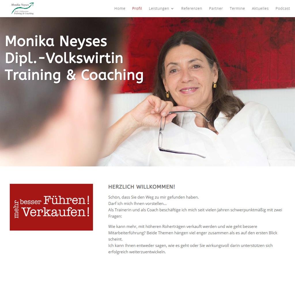Bildschirmfoto der Website Monika Neyses